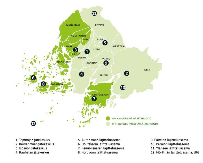 LSJH kartta jätekeskukset